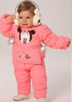 baby warm winter clothing sets coat hoody+pant trouses children fashion outfit thick clothing wear pink blue retail