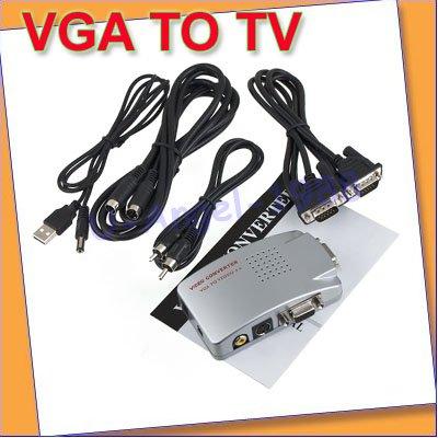 Free shipping+ 5pcs/lot VGA to TV Monitor Video Signal Converter/ TV Box for Laptop PC(China (Mainland))