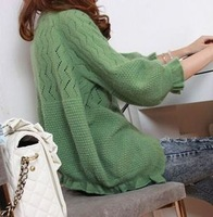 Free Shipping! 2012 Autumn Women's Cutout Thin Small Cape Crotch Ruffle Sweater Cardigan Jacket Tops B06675#