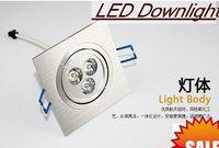 3w Square LED Downlight  Wholesale - 20pcs/lot  85-265V 3x1W   High Power Energy Saving LED lamp