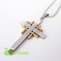 Free shipping +Wholesale Stainless Steel Multi Gold&Silver Cross Chain Pendant Necklace Cool Gift New Item ID:3745