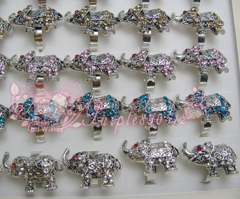 Free Shipping 50Pcs Elephant Modern Austrian Crystal Rhinestone Rings(China (Mainland))