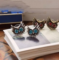 2 Colors Antique Crystal Round Eyes Owl Stud Earrings Rhinestone Owl Stud Earrings 36pairs/lot Free Sipping B199