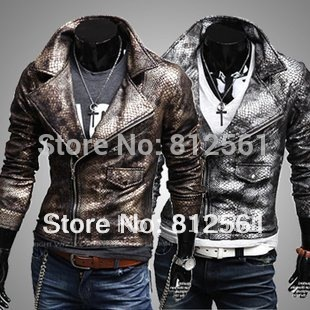 Free Shipping Rare crocodile skin water man cultivate one's morality big turndown fashion brief paragraph leather jacket