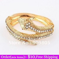 Min Order $10(Mix Items)14K Gold Plated Punk Fashion Jewelry Crystal Alloy Metal Snake Bangle Wholesale Cheap Price