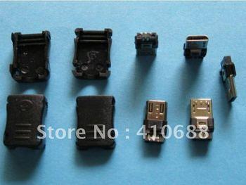 1000 Pcs 5 Pin Micro USB Plug Male Socket Connector Plastic Handle