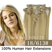 "16"" 18"" 20"" 22"" 24"" 26"" 8pcs remy hair extension clip in hair extensions  # 18/613 100g/set 2sets/lot 100% human hair"