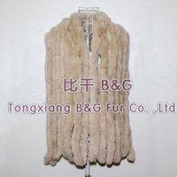 BG10265-2 New Arrival  Genuine Rabbit Fur Stole with Tassels Warmer Scarves