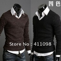 Hotsale! new styles Autumn Clothing Men's Fashion V-neck Sweater M-XL 5Colors Wholesale and Retail Free Shipping