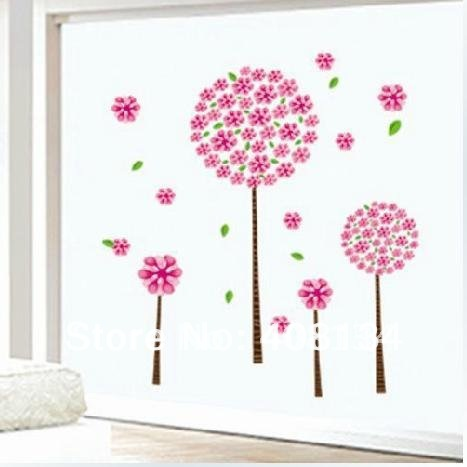 Wall Decals  Living Room on Living Room Wall Sticker Pink Cherry Tree And Lovly Star Wall Stickers