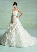 Free shipping princess sweetheart beading flowered taffeta lace up back beautiful wedding dresses-Intimate Lover