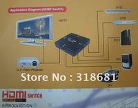 Mini Splitter 3 Port 1080P Video HDMI Switch Switcher HDMI Splitter box Free shipping 100pcs / lot DHL Shipped