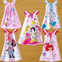 Child nightgown female child nightgown child sleepwear 100% cotton short-sleeve suspender skirt baby sleepwear