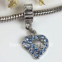 $15 off per $150 order 5pcs Blue Crystal Heart Dangle European Bead Fit Charm Bracelet