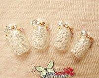New arrival,  hot!! eleagnt wedding /party bride Lace false nails\nail tips 24pcs./set with backside glue dots /UAS brand