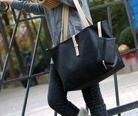 New Arrival Women's Fashion Black Handbag Pu Shoulder Tote Bag w/ Clutch  Purse Canvas Strap Nice Quality