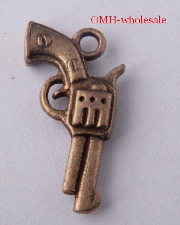 OMH wholesale Free ship 185pcs bronze handgun charm pendants necklace Bracelets charms 521X11mm DZ97(China (Mainland))