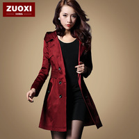 plus size! spring autumn slim hooded jacket women's trench coat long outerwear free shipping
