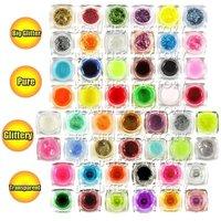 12 pcs/lot 0.25oz / 8ml 48 Color Original UV GEL NAIL GLITTER 4 Styles Big Glitter/Pure/Glittery/Transparent #330