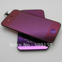 Purple Plating Mirror LCD Digitizer Back Housing Full Assembly For iPhone 4G 4 Free Shipping