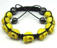 >$10 ,Free Shipping,  colorful turquoise skull not plastic004,2012  charm beads,Strand rope shamballa bracelet for men and women
