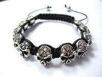>$10 ,Free Shipping,   Head bracelet for men and women ,2012  most charm beads,Strand rope shamballa bracelet