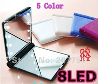 100 pcs/lot New Fashion 8 Led Mirror, Mini Cosmetic Mirror, Make up Makeup Mirror Girls Favorite Good Gift For Your Friend