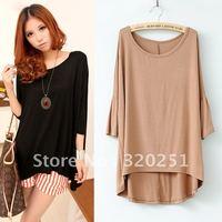 2014 free shipping fashion loose irregular modal plus size t-shirt zps187