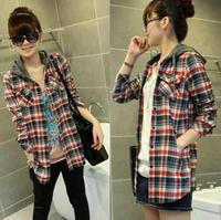 Free shipping Fashion cotton blouses chiffon women shirt cotton lady hooded loose plus size shirt long-sleeve basic shirt