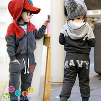 Color block decoration sweatshirt trousers wadded jacket sports set 2012 summer male big boy baby children's clothing 3778
