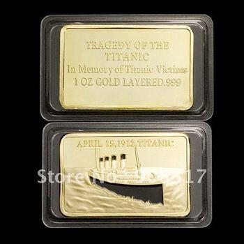 Commemorative Titanic 24K gold clad bars 5pcs/lot, Free shipping