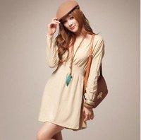Женское платье 2013 korean style casual women knitted sweater dress for autumn winter, gray black