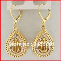 "MIN ORDER 10$/FREE SHIPPING/18K YELLOW GOLD GP SOLID OVERLAY FILL BRASS MUSLIM ALLAH GOD 50mm 1.97"" EARRING/GREAT GIFT/"