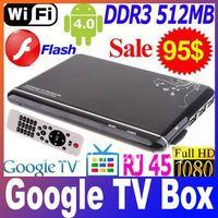 Google TV Box Android 4.0 ARM Cortex A9 WiFi HD 1080P HDMI Internet TV Box with Remote DDR III 512M 4GB+Flash+3D Free shipping
