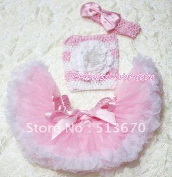 Pink White Baby Pettiskirt, White Peony Pink White Crochet Tube Top, Pink Bow Headband 3PC Set MACT183