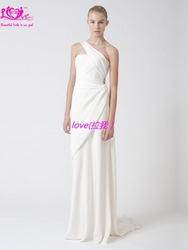 custom 2012 wang fashion a line one shoulder chiffon column elegant bridal dress wedding oem(China (Mainland))