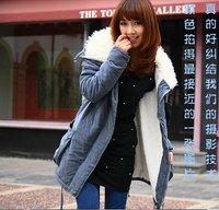 Women down coat winter fleece women's goose thick big cotton-padded jacket casual wadded jacket long outerwear