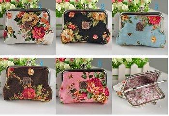 Free Shipping New Arrival Flower Coin Purse Hasp Change Wallet, Cotton Key Purse 30PCS/LOT Mix Color Wholesale
