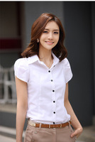 women's short-sleeve slim shirt blouse