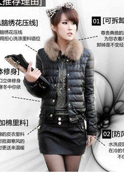 2013 Winter Women PU leather down coat wadded jacket short design slim high quality artificial fur collar winter outerwear