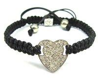 >$10 ,Free Shipping, white heart charm bracelet for women ,2012  charm bead,Strand rope shamballa bracelet