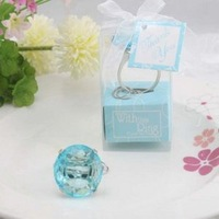 Free Shipping +With This Ring Crystal Keychain Ring in Blue Color+100set / lot+Very Good for Wedding Favors(RWF-0019KC)