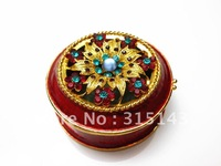 Wholesale(70pcs Pack)-2012 new gold plated flower sharp pewter Alloy metal jewelry box