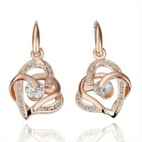 18KGP Rose-gold K Gold Plated Earrings Fashion Jewelry  Plating Platinum Austrian SW  Crystal new