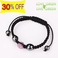 Free shipping New Arrival Wholesales Price Shamballa Ball Beads Rope Charm Bracelet Bangle fashion crystal  jewelry set 42527
