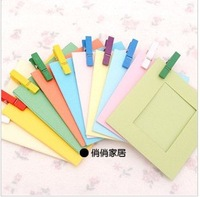 [FORREST SHOP] Free Shipping Picture album Paper photo frame set with wooden clip 10pieces/set good quality FRS-80