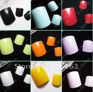 Freeshipping 100pcs x 9 colors false Toenail colorful Fake Toe Nails Tip With Box NA408(China (Mainland))