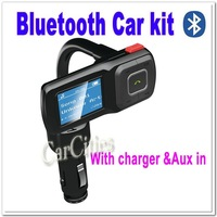 High Quality Bluetooth car kit with charger & Aux-in,support USB disk & Micro SD card,handsfree car kit, wholesale+free shipping