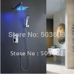 "Shower Set 8"" LED Rainfall Shower Head Arm Control Valve Handspray Shower Faucet Set CM0633"