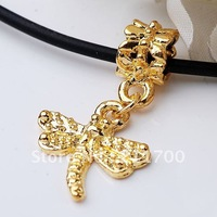 Free shipping Gold Plated Dragonfly Dangle Bead Fit Charm European 10pcs